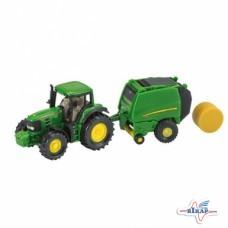Модель трактора JD7530 с пресс-подборщиком JD900 M1:87, JD