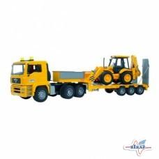 Модель автомобиля MAN TGA с трактором JCB 4CX на низкорамном прицепе M1:16 (BRUDER)